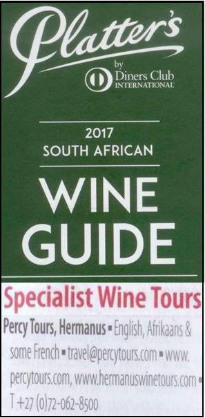 2017 John Platter listing for our Wine Tours in Hermanus