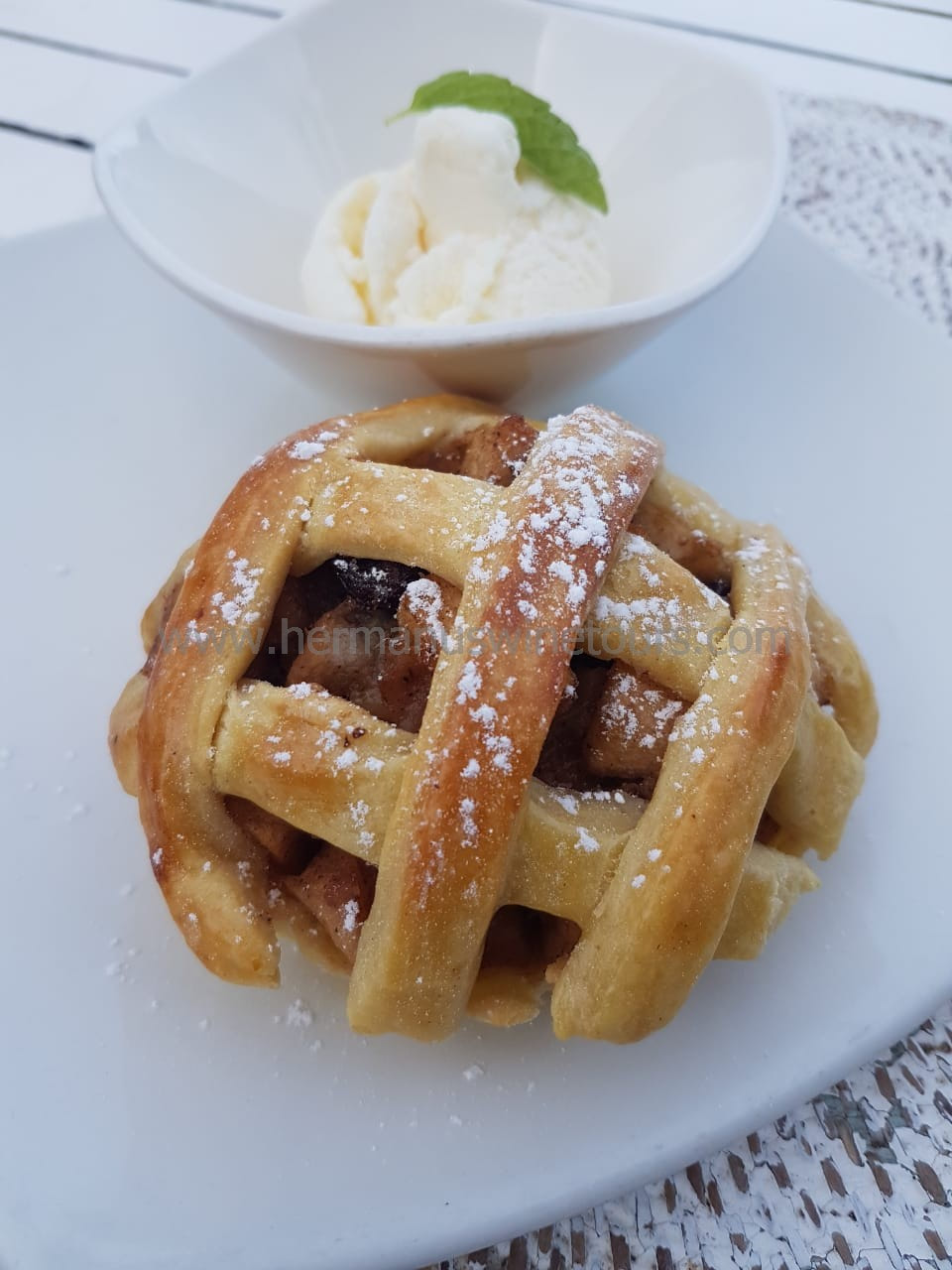 Apple and raisin tart, Hermanus restaurant, near Cape Town, South Africa