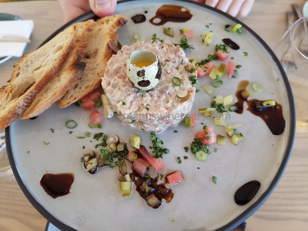 Beef tartar, balsmic, quail egg, Hermanus restaurant, near Cape Town, South Africa