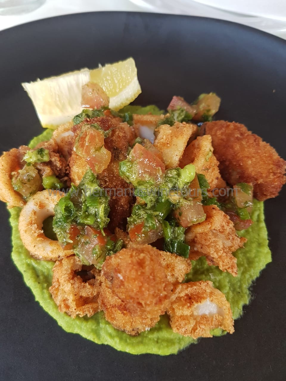 Spicy Calamari rings on a pea mash, Hermanus restaurant, near Cape Town, South Africa