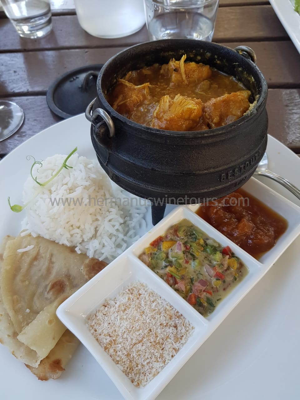 Indian chicken curry, sambals, roti, Hermanus restaurant, near Cape Town, South Africa