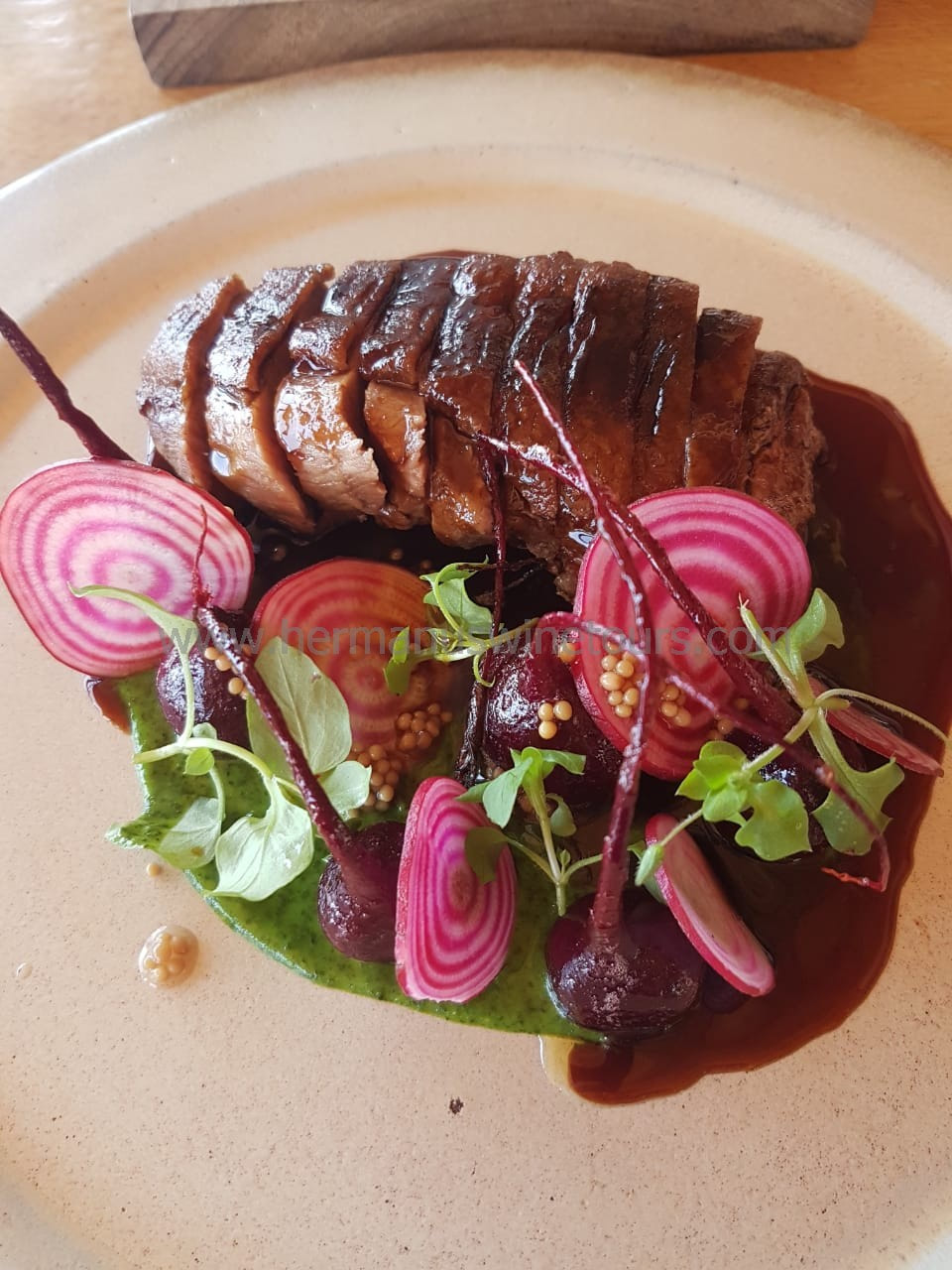 Roast duck breast with beetroot, Hermanus restaurant, near Cape Town, South Africa