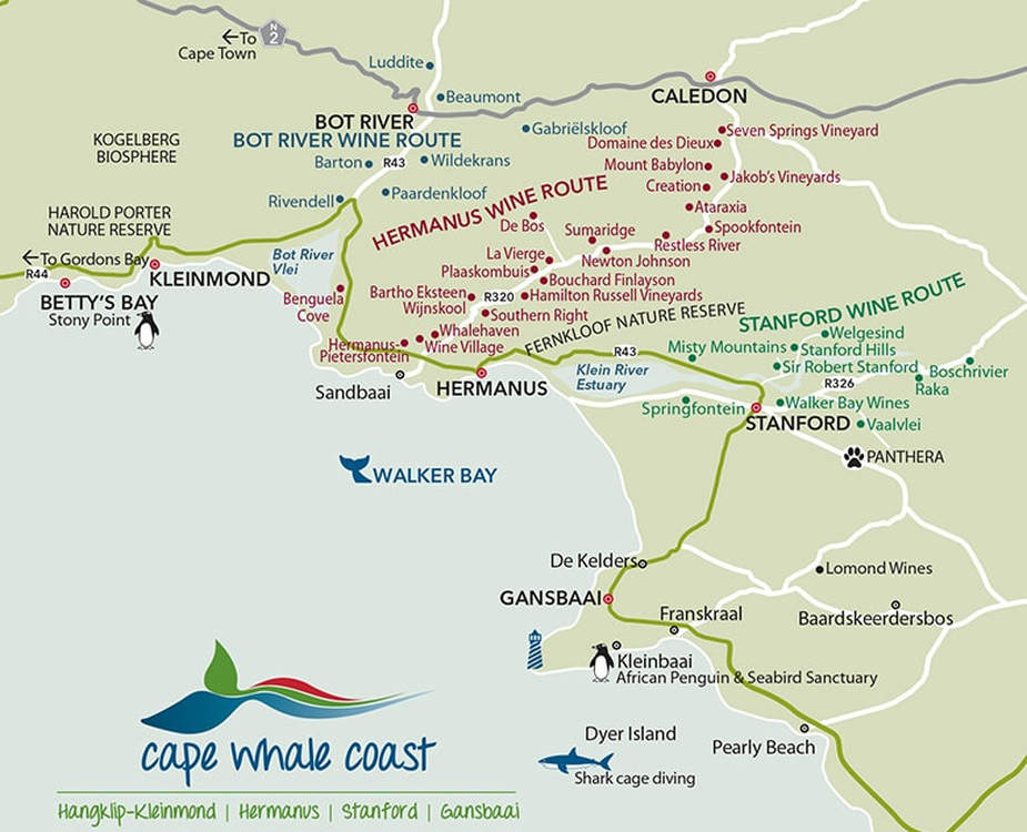 Map Of Route 62 South Africa.Hermanus Wine Tours Wine Tour Guide Transport Routes
