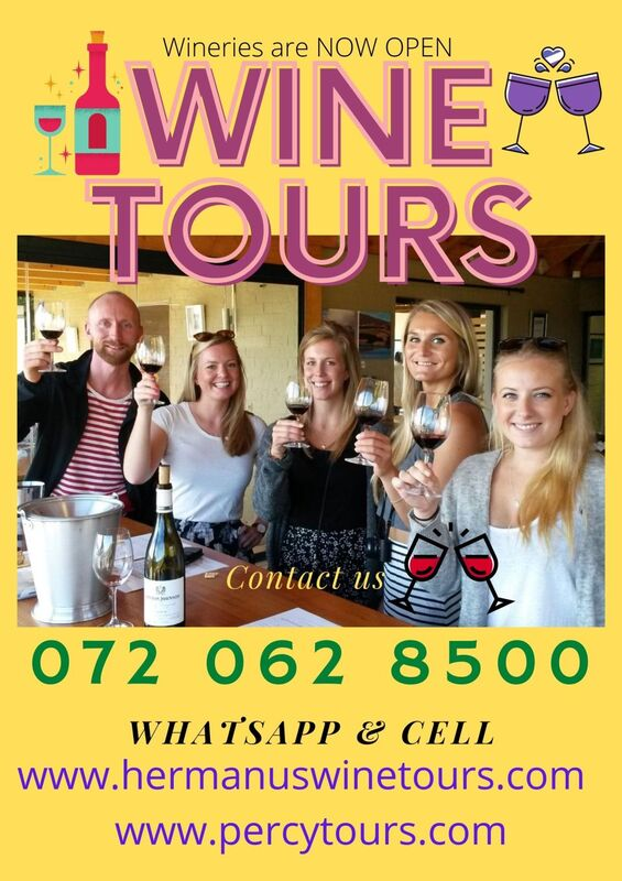 Wine Tours of Hermanus wine region are OPEN, near Cape Town, South Africa