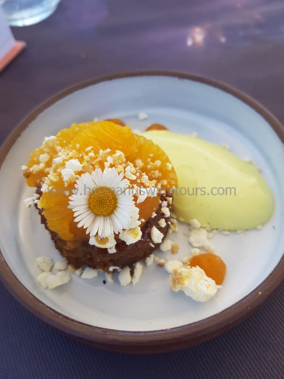 Malva orange pudding with popcorn, Hermanus restaurant, near Cape Town, South Africa