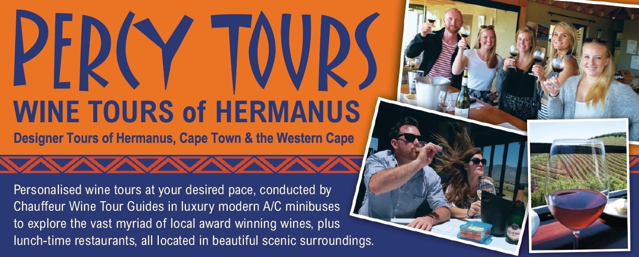 Wine Tours of Hermanus wineries with Percy Tours offering over 120 wines in the pretty Hemel-en-Aarde wine valley - tours to other wine regions too