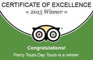 Percy Tours Hermanus 2015 Winner of Excellence with TripAdvisor