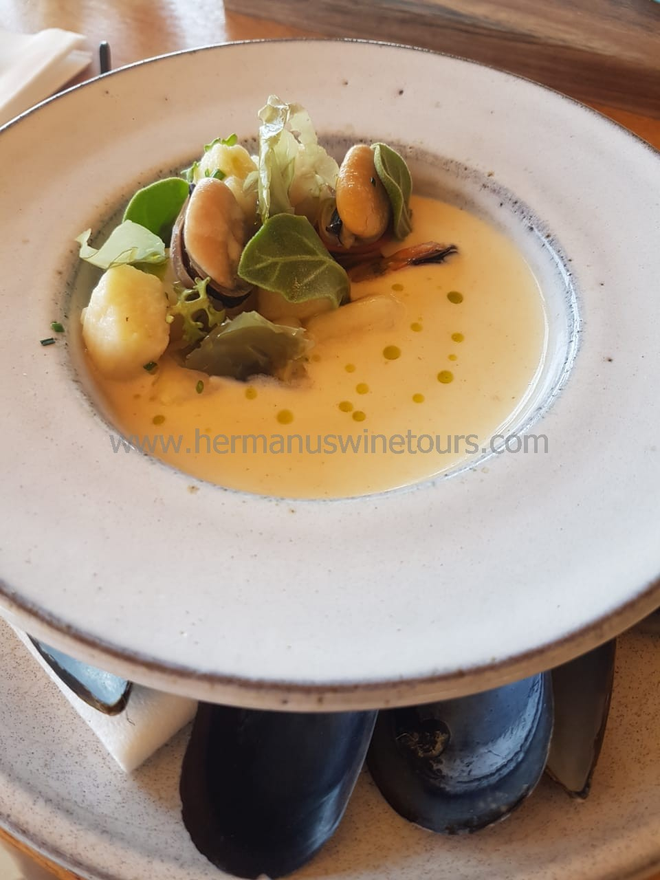 Seafood soup, Hermanus restaurant, South Africa