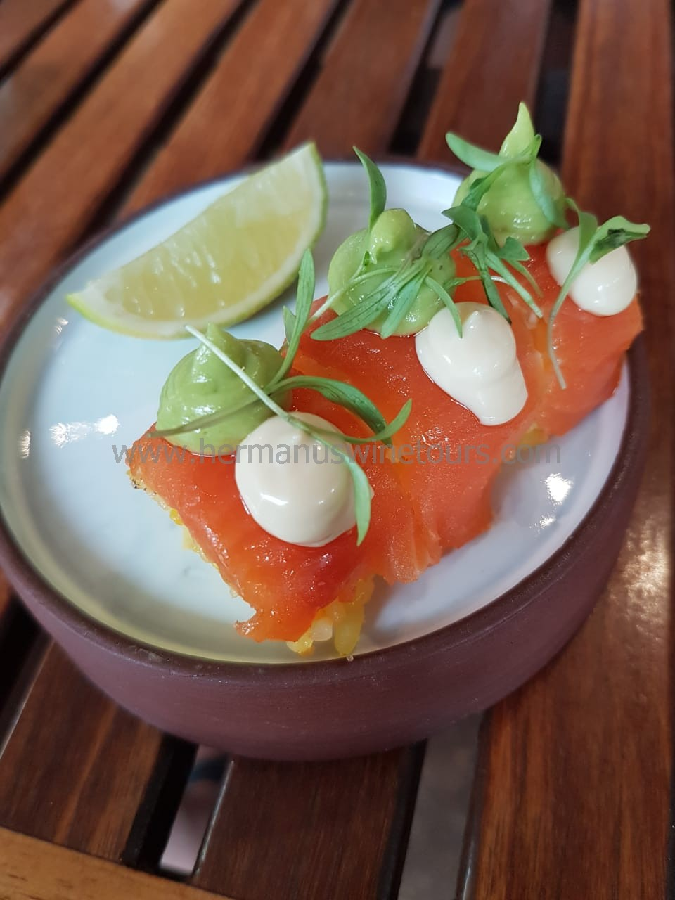 Smoked salmon sushi, Hermanus restaurant, South Africa