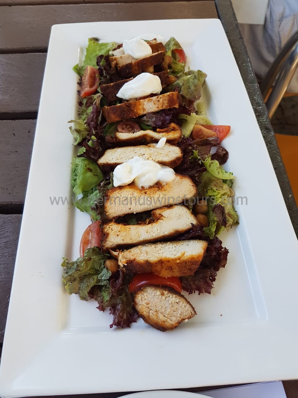 Spicy Chicken tandoori salad, Hermanus restaurant, South Africa