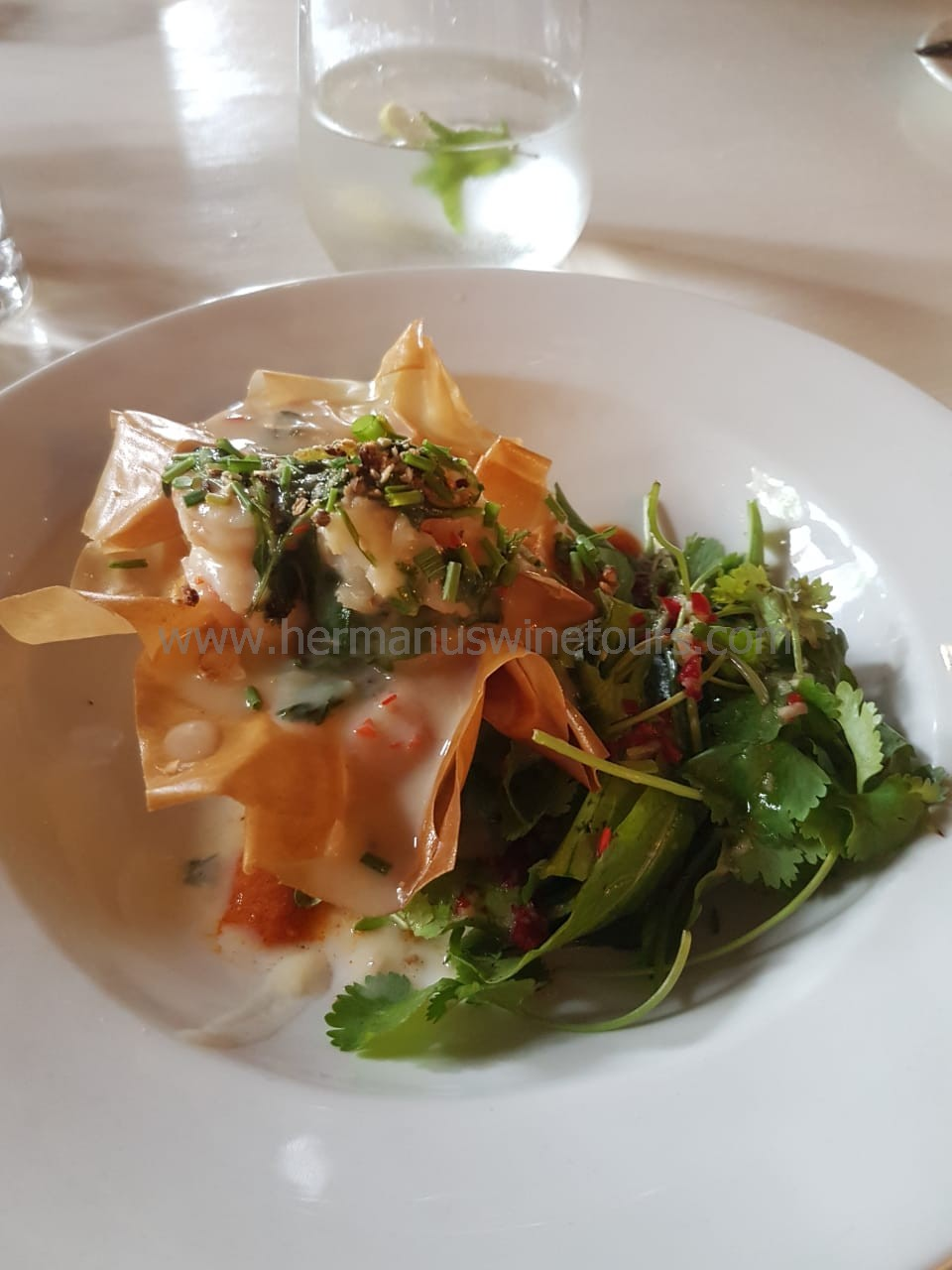 Thai phyllo pastry prawns, Hermanus restaurant, South Africa