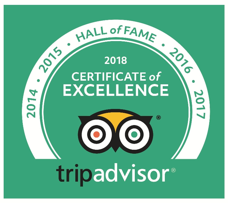 5 years of Excellent Review awarded on TripAdvisor for Percy Tours Hermanus South Africa